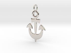 Anchor Symbol Pendant Charm in Platinum