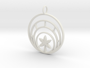 Plant In Circle Pendant Charm in White Natural Versatile Plastic