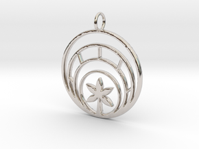 Plant In Circle Pendant Charm in Rhodium Plated Brass