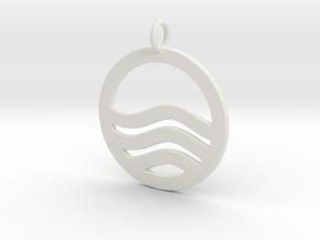 Sea Ocean Waves Symbol Pendant Charm in White Natural Versatile Plastic