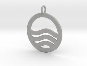 Sea Ocean Waves Symbol Pendant Charm in Aluminum
