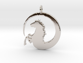 Pretty Horse In Circle Pendant Charm in Platinum
