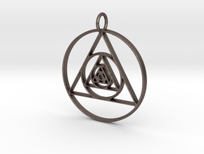 Modern Abstract Circles And Triangles Pendant in Polished Bronzed Silver Steel