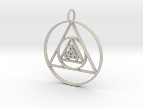 Modern Abstract Circles And Triangles Pendant in Natural Sandstone