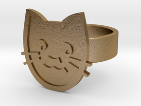 Cat Ring in Polished Gold Steel: 10 / 61.5