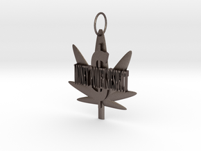 Money Power Respect Weed Pendant in Polished Bronzed Silver Steel