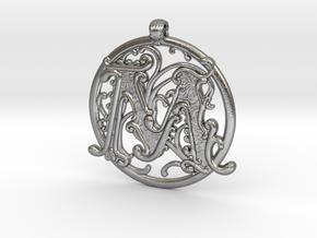 "Fantasy ""M"" Pendant in Natural Silver"