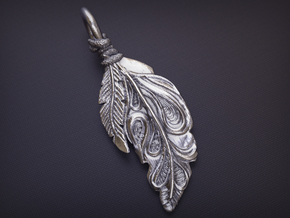 Feather Pendant in Natural Silver
