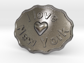I Love New York Belt Buckle in Polished Nickel Steel
