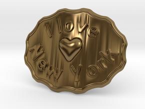 I Love New York Belt Buckle in Polished Bronze