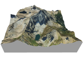 "Capitol Peak Map: 6"" in Matte Full Color Sandstone"