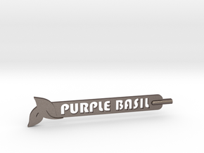 Purple Basil Plant Stake in Polished Bronzed Silver Steel