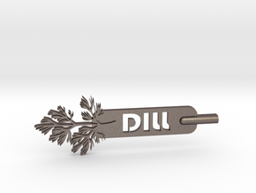Dill Plant Stake in Polished Bronzed Silver Steel