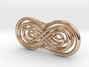 Trompe l'Oeil Calligraphy 2 in 14k Rose Gold Plated Brass
