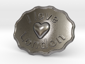 I Love London Belt Buckle in Polished Nickel Steel