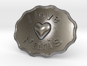 I Love Paris Belt Buckle in Polished Nickel Steel