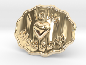 I Love Moscow Belt Buckle in 14K Yellow Gold