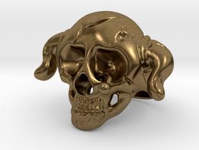 Nasty Skull Ring in Natural Bronze (Interlocking Parts)