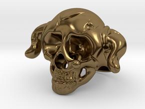 Nasty Skull Ring in Polished Bronze (Interlocking Parts)