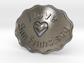 I Love San Francisco Belt Buckle in Polished Nickel Steel