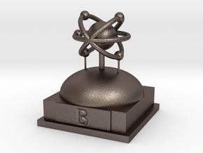 Boron Atomamodel in Polished Bronzed Silver Steel