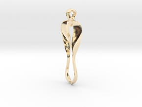 Pendant, Stylized 3 in 14k Gold Plated Brass