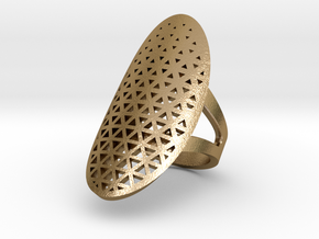 RING Triangle in Polished Gold Steel