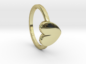 Heart Ring Size 6 in 18k Gold Plated Brass