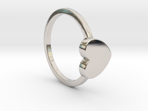 Heart Ring Size 7.5 in Rhodium Plated Brass
