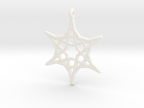 Hex Star Pendant in White Processed Versatile Plastic