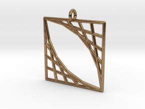 Oblique Grid Pendant in Natural Brass