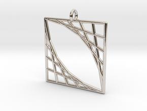 Oblique Grid Pendant in Rhodium Plated Brass