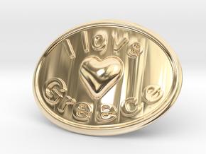 I Love Greece Belt Buckle in 14K Yellow Gold