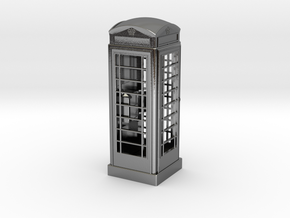 K6 Telephone Box (10cm) in Polished Silver
