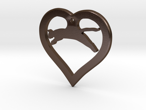 The Love Hunter (steel pendant) in Polished Bronze Steel