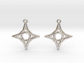 Diamond Star Earrings in Rhodium Plated Brass
