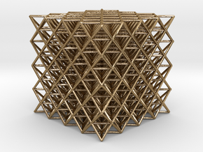 512 Tetrahedron Grid in Polished Gold Steel