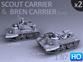 Scout and Bren Carrier  (1:87 HO) - (2 Pack) in Frosted Ultra Detail