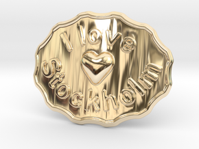 I Love Stockholm Belt Buckle in 14K Yellow Gold