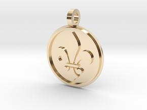 Fleur De Lis Pendant in 14k Gold Plated Brass