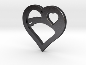 The Eager Heart (steel pendant) in Polished Grey Steel