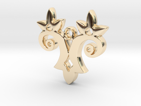 Twin Flower Pendant in 14k Gold Plated Brass