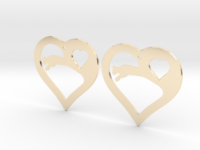 The Eager Hearts (precious metal earrings) in 14K Yellow Gold
