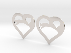 The Eager Hearts (precious metal earrings) in Rhodium Plated Brass