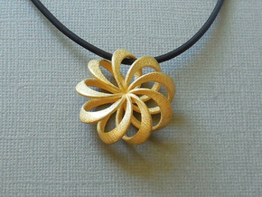 Rosette Pendant in Polished Gold Steel