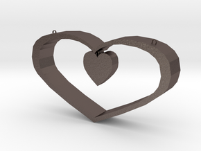 Heart Pendant - Large in Polished Bronzed Silver Steel