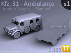 Ambulance Kfz 31 Horch - (1:120) TT in Smooth Fine Detail Plastic