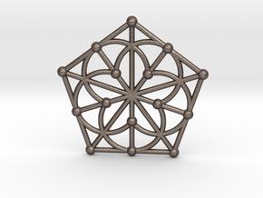 Generalized Quadrangle Pendant, Variation 1 in Polished Bronzed Silver Steel