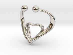 The Heart Fake septum ring nose, ring septum jewel in Rhodium Plated Brass