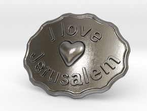 I Love Jerusalem Belt Buckle in Polished Nickel Steel